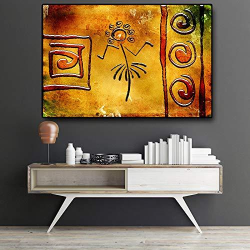 NIMCG Kunst Leinwand Indianerin mit Adler Ölgemälde auf Leinwand Poster und Druck Wandkunst Bild für Wohnzimmer (ohne Rahmen) A2 60x80CM