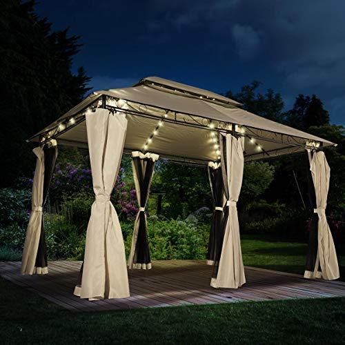 BRAST Pavillon Easiness 300x400x265cm beige festes Dach wasserdicht + Moskitonetz + LEDs 2 Farben 8 Modelle