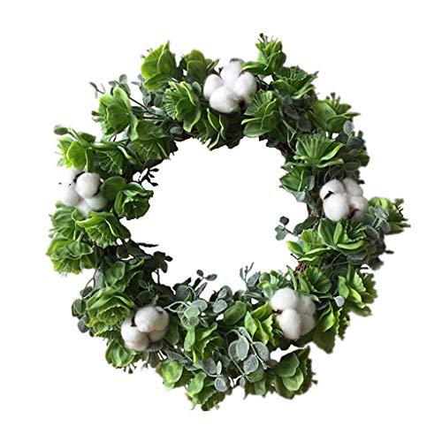 Cgration Künstliche Blumen grün geblümt Baumwollkranz Frühlingskranz Outdoor für Haustür Wand Fenster Party Hochzeit Dekor