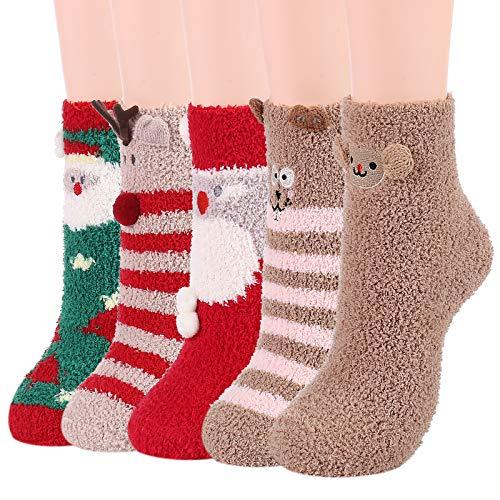 Womens Socks Fuzzy Socks Soft Fluffy Socks Warm Fleece Socks Winter Gifts Socks Sports Outdoor Sock Athletic Socks (5 Pairs Christmas, One Size)