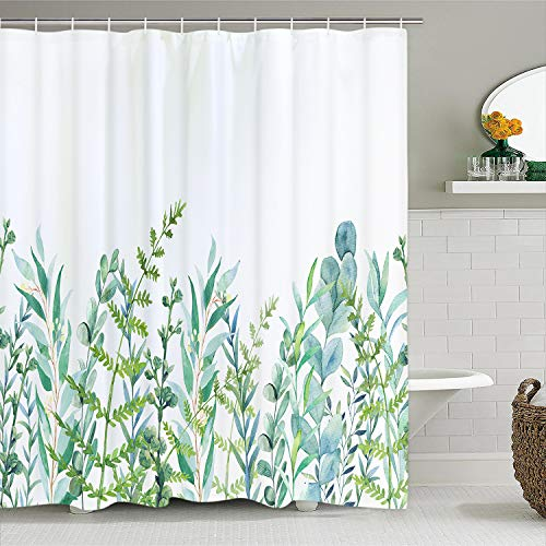 Alishomtll Duschvorhang mit 12 Haken Blätter Badevorhang waschbar Textil antischimmel Kinder Badewanne Digitaldruck, 175x178 cm weiß Grün