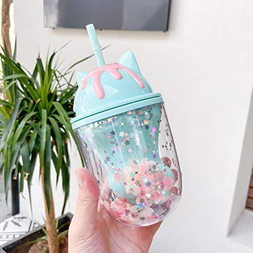 Botella de agua Taza de plástico con pata de gato linda Foto de dibujos animados lindo Posando Taza de paja Regalo Oficina Escuela Hogar 250Ml