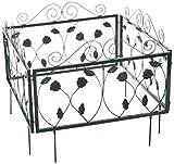 Relaxdays 10020696_470 Bordura per Aiuola in Metallo Set da 4 Stile Gotico Vintage Recinzione Giardino 4 Pannelli 34,5 x 56,5 cm nero