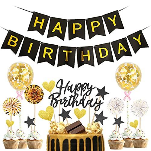 Bluelves Tortendeko Geburtstag, Tortendeko, Torte Deko Schwarz, Kuchen Deko, 20 Stück Kuchendeko Geburtstag Junge, Glitter Cake Topper, Geburtstagskuchen Topper, Geburtstag Kuchen für Junge Kinder