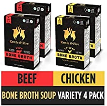 Bone Broth Variety Pack, Beef and Chicken by Kettle and Fire, Keto Diet, Paleo Friendly, Whole 30 Approved, Gluten Free, with Collagen, 10g of Protein (Pack of 4)