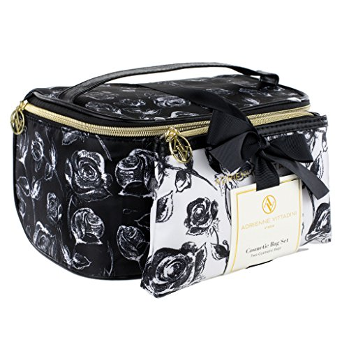 Adrienne Vittadini Makeup Bag Set: Nylon Carry On Toiletry & Cosmetic Train Case with Zipper for Women - Tote Bags with Plenty of Storage for Overnight Travel or Weekender Trips - Black & White Floral