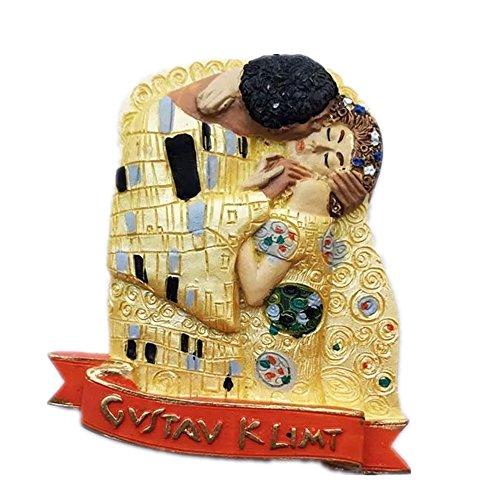 Österreich, Wien, Gustav Klimt, Kuss, Welt, Kunstharz, 3D, starker Kühlschrankmagnet, Souvenir, Touristen-Geschenk, chinesischer Magnet, handgefertigt