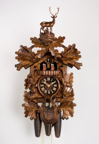 German Cuckoo Clock 8-day-movement Carved-Style 24.50 inch - Authentic black forest cuckoo clock by Hönes