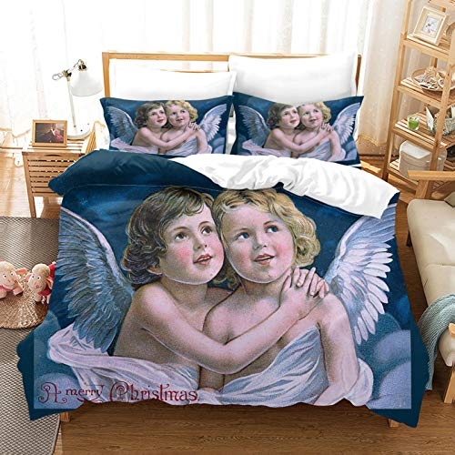 GZMSOL Duvet Cover Quilt Bedding Set With Pillow Case - Cute Little Angel 3 Pcs With Zipper Closure 135X200Cm Thermal Warm Cosy Super Soft Hypoallergenic Microfiber Quilt Cover Sets - Single
