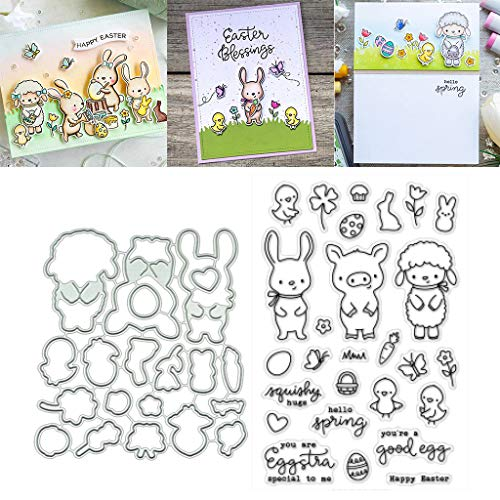 Pig Sheep Silicone Clear Stamp with Cutting Dies Stencil Set DIY Scrapbooking Embossing Photo Album Decorative Paper Card Craft Art Handmade