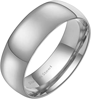Lavencious 7mm Stainless Steel Wedding Band Ring for Womens and Mens Promise Engagement Size 5-13