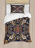 Juego de ropa de cama de cachemira, diseño histórico de flores marroquíes con efectos eslavos, juego de cama decorativo de 2 piezas con 1 funda de almohada, tamaño individual, color violeta caramelo