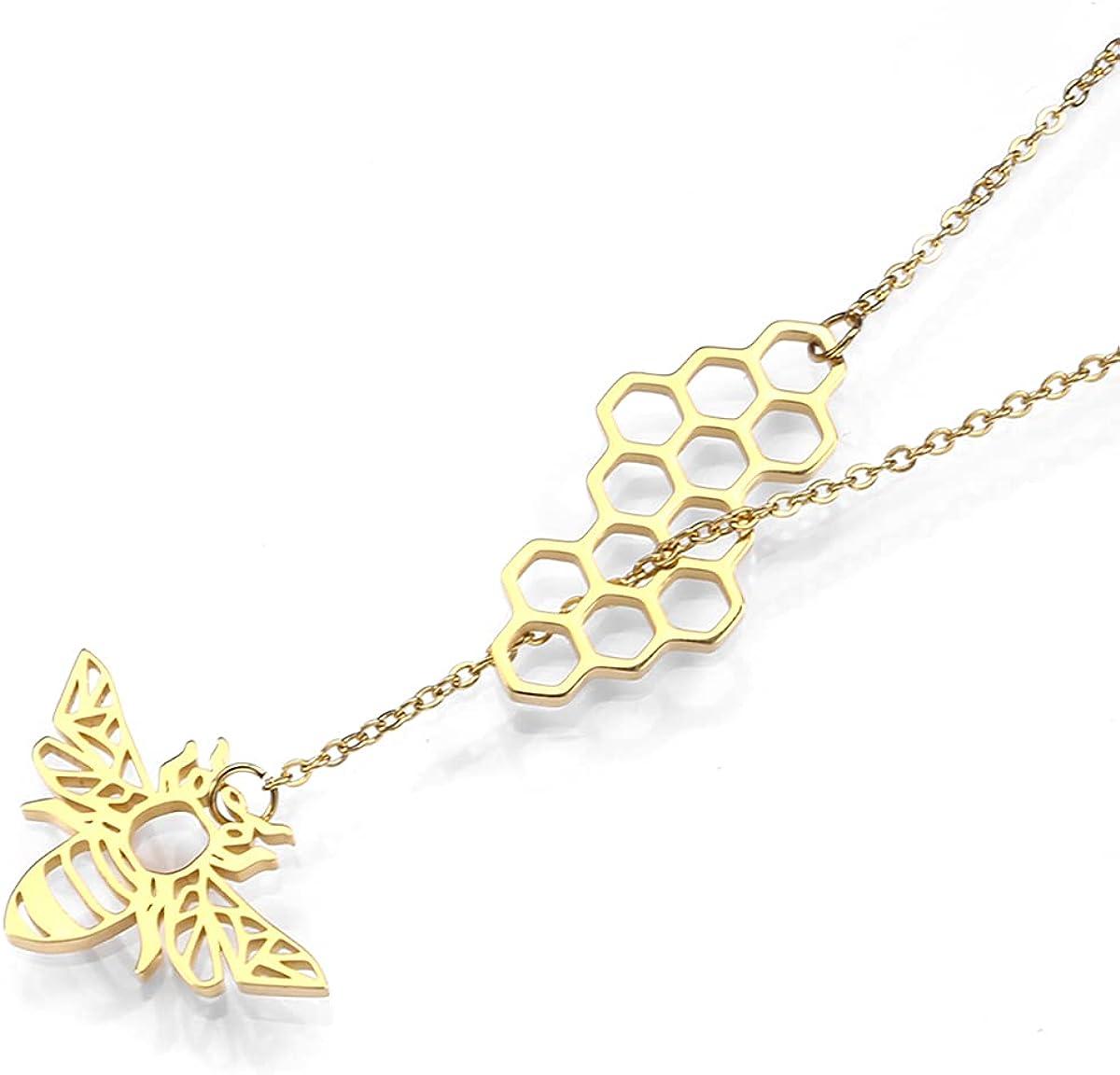 Origami Honey Bee Honeycomb Pendant Necklace Earrings for Women Bumblebee Beehive Adjustable Lariat Y Necklace Jewelry