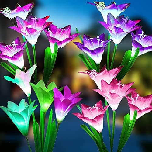 ZREYLLB Luces Solares de Flores de Estaca de Jardín Luces de Flor de Lirio al Aire Libre Cambio Luces LED con Energía Solar por Patio Césped Jardín Decoración de Patio (Paquete de 4)
