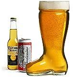 bar@drinkstuff Verre à bière en forme de botte géante ,Contence 2 Litres, en verre ultra résistant