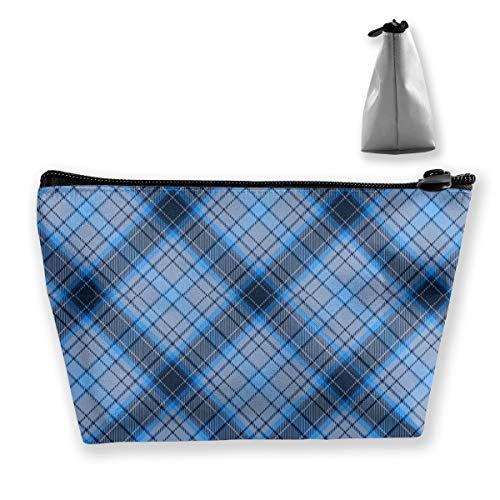 Multi-Functional Print Trapezoidal Storage Bag for Female Blue Plaid Pattern