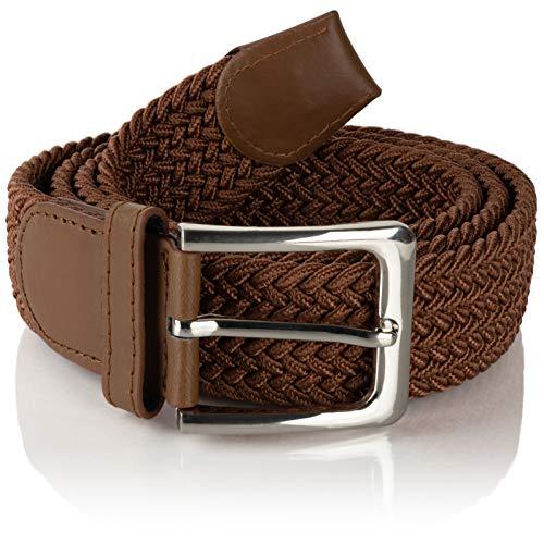 Flex Komfortabler Elastischer Stretchgürtel - Dehnbarer Geflochtener Gürtel für Damen & Herren (Gesamtlänge 115 cm, Braun)