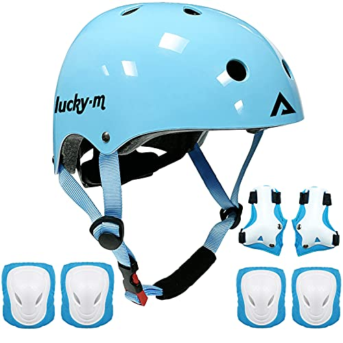 Kids Protective Gear Set Boys Girls Adjustable Size Helmet with Knee Pads, Elbow Pads, Wrist Guards for Skateboard, Cycling, Hoverboard, Scooter (Blue)