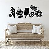 Etiqueta de la pared de la tienda de postres, caramelo, postre, helado, pastel, rosquilla, grano de café, refrigerador, etiqueta de la ventana, mural de café, A1 34x82cm