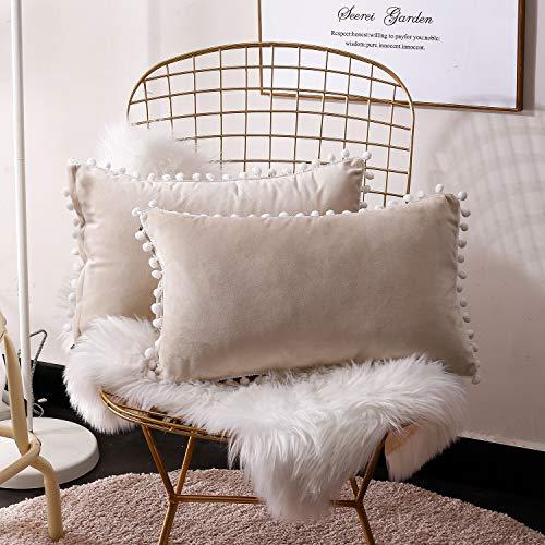 FabThing Kissenbezug Samt Kissenhülle Dekorative Lendenkissen Sofakissen Dekokissen Einfarbig mit Pom Poms für Sofa Schlafzimmer 2er-Set,30x50cm Weiße Creme
