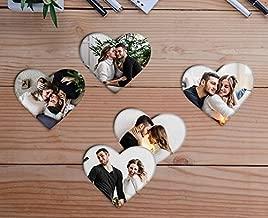 Bhaiji Enterprises Wooden Photo Fridge Magnet Heart shape, Personalized, Home Decor Gift (3 x 3 inch, Multi-Colour)-Set of 5