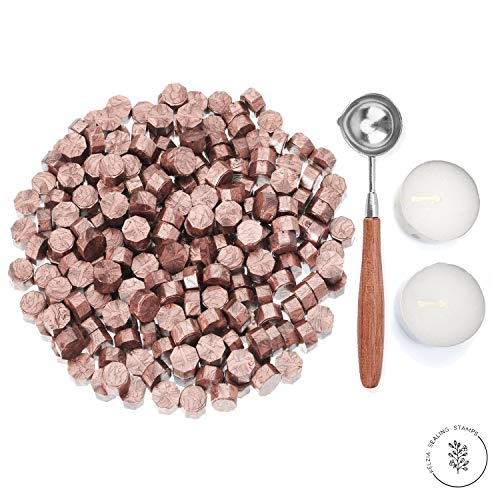 Kelzia Veganes - Ceralacca ottagonale con 2 lumini e 1 cucchiaio da fusione, senza timbro di cera, ceralacca per sigillare e decorare lettere, 230 pezzi