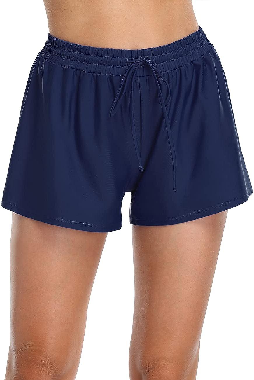 Firpearl Women's Swim Board Shorts Plus Size Drawstring Swimsuit Bottoms