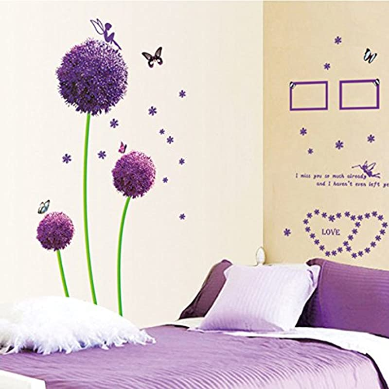 DNVEN 59 Inches X 67 Inches Lavender Purple Dandelion Photo Frames Removable PVC Wall Sticker Home Decor Bedroom Stickers Wall Paper Decals For Kid S Room Nursery Bedrooms