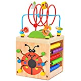 BATTOP Wooden Activity Cube Deluxe Multi-Function CPSC Certified Bead...