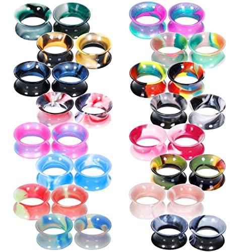 X/L Juego de 32 dilatadores de dilatador de dilatadores de silicona, 32 unidades, 16 pares de dilatadores, dilatadores de orejas, joyas de colores mezclados (tamaño: 14 mm)