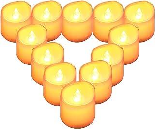 QBeau キャンドルライト LEDライト 蝋燭 暖色光 揺らぐ炎 ティーライトゆらゆら揺れる 火を使わない 安全 省エネ 長持ち 便利 おしゃれ クリスマス 結婚式 誕生日 室内 室外飾り インテリアライト 連続最大点灯時間約100時間 (12個セット)