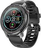 QHG Reloj Inteligente Deportivo IP68 Ritmo cardíaco Impermeable Presión Arterial de la presión Arterial Tracker Silicone Strap Smart Bluetooth Fitness Tracker (Color : Black)