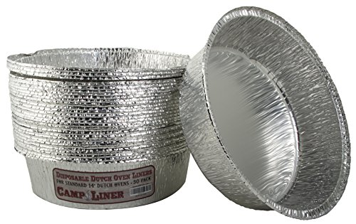 """CampLiner Dutch Oven Liners, 30 Pack of 14"""" 8 Quart Disposable Liners - No More Cleaning or Seasoning. Fits Lodge, Camp Chef, and other Cast Iron Dutch Ovens"""
