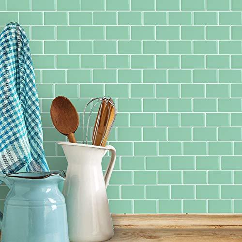 HyFanStr 3D Fliesenaufkleber Küche, Selbstklebende Fliesensticker Bad Fliesendekor, Grün Wasserdicht Wandaufkleber 30.5x30.5cm