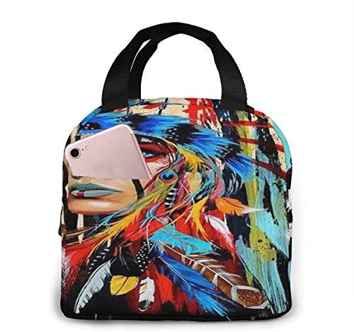 Bolso de almuerzo de moda de arte nativo americano, bolso térmico aislado resistente al agua con bolsillo para oficina / escuela / exterior-Negro-Talla única