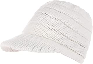 Bigood Women Warm Beanie Tail Knit Messy High Bun Ponytail Hat with Visor
