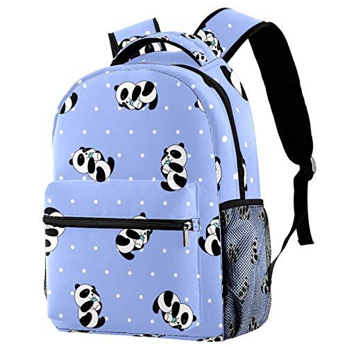 LAZEN Zaino da stampa leggero Kawaii Panda carino con puntini bianchi viola per ragazza Boy College School Travel Camping Daypack Bookbag