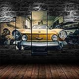 KOPASD Pared Arte de Obras de Arte Moderno Antiguo Coche Fiat Antiguo Vintage para Colgar Cuadros sobre El Lienzo con Bastidor(150x80cmx5pcs)