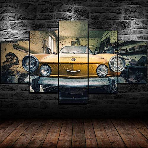 45Tdfc Cuadro En Lienzo 5 Piezas Antiguo Coche Fiat Antiguo Vintage Dormitorio Arte Cartel Pared DecoracióN del Hogar Cuadro Pintura para Sala Estar Listo para Marco