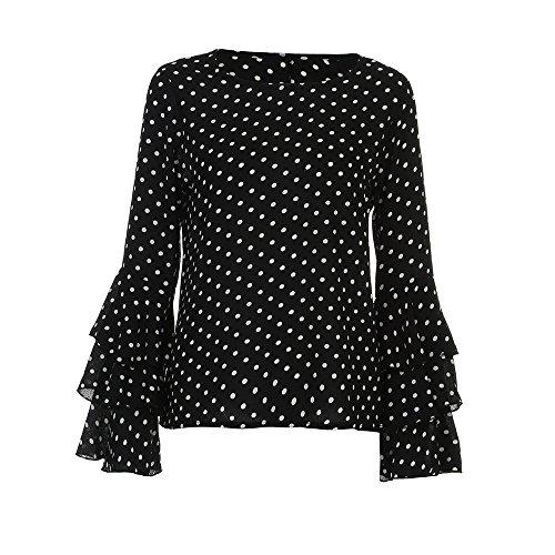 Proumy Camiseta Negra Mujer de Algodón Blusa a Lunares Camisa Manga Larga con Volantes Vestido Elegante Tops Estampado Traje de Talla Grande