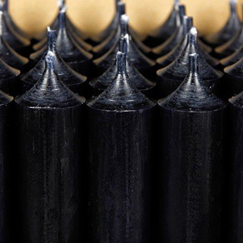 Bütic GmbH durchgefärbte Stabkerzen 180mm x 22mm - hochgereinigte Kerzen mit rückstandsfreiem Abbrand, Farbe:Schwarz, Set mit:25 Stück