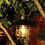 Solarlampen für Außen Hängend, LINTRY Vintage Metall Solarleuchten Gartendeko mit S Hook,Solar Laterne Wetterfest für Garten ,Balkon,Terrasse,Patio,Tisch,Wegeleuchten(Schwarz)