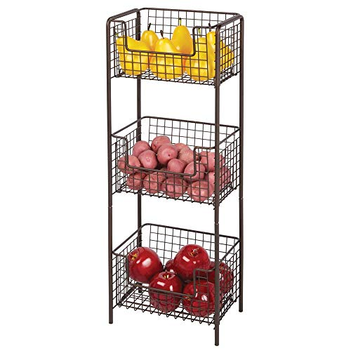mDesign 3 Tier Vertical Standing Kitchen Pantry Food Shelving Unit - Decorative Metal Storage Organizer Tower Rack with 3 Basket Bins to Hold and Organize Fruit, Potatoes, Snacks - Bronze