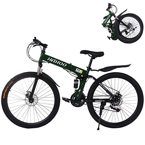 Mountain Bike for Adult Men and Women, High Carbon Steel Dual Suspension Frame Mountain Bike, 21 Speed Gears Folding Outroad Bike with 26 Inches 6-Spoke Rims (Green)