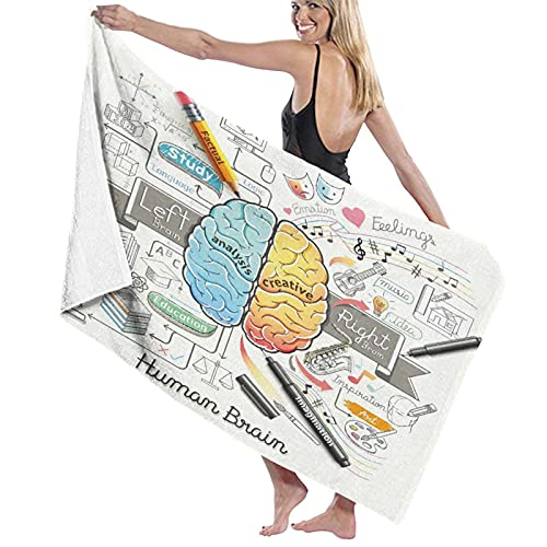 Toalla de Playa de Microfibra de Gran tamaño,Educación Cerebro Humano Diagrama Garabatos,Toalla de baño Absorbente Suave y Ligera para Nadar, Deportes, Piscina, Gimnasio, Camping (52 × 32 Pulgadas)