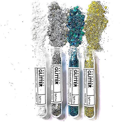 Biologisch abbaubarer kosmetischer Glitzer I Öko-Glitter   Bio-Glitter für Gesicht, Körper, Nägel, Haare und Lippen I Vegan-Glitter   4er-Set á 2g (Ocean Set)