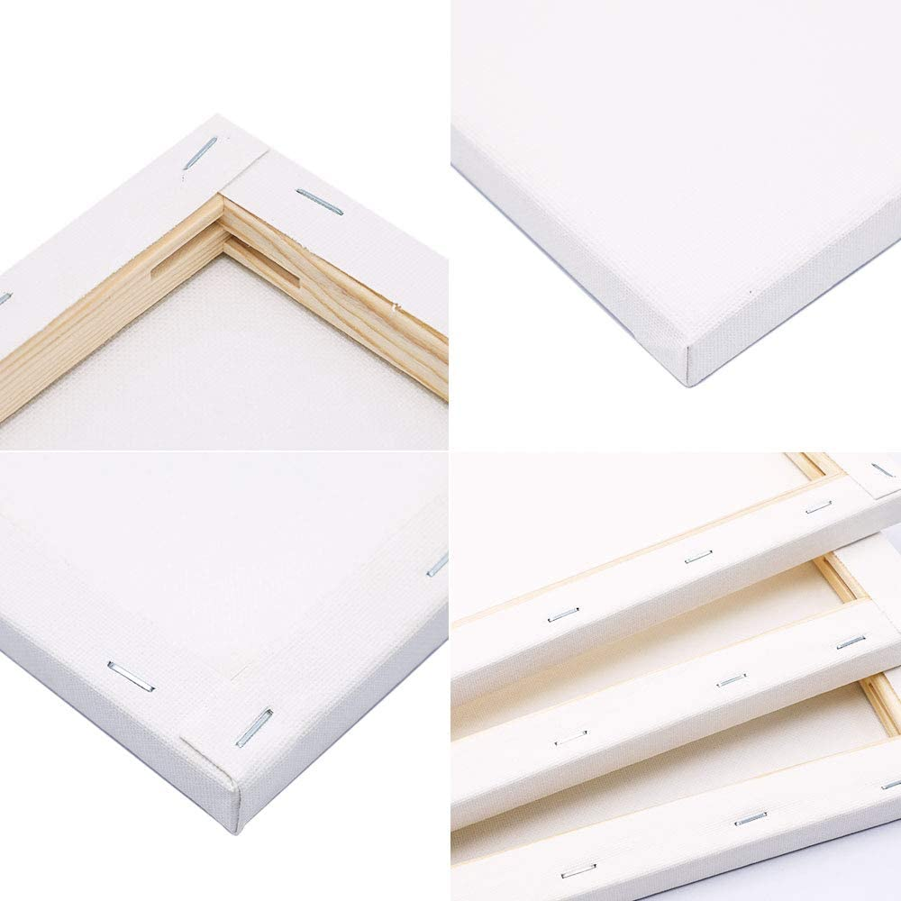 Medium Grain 1.6 cm-Thick Triple Primed Pre-Stretched Blank Stretched Canvas,280 GSM Blank by  -30 x 40 cm-6Pack Umi Acid Free 100/% Cotton