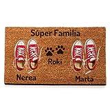 NANNUK - Felpudo Personalizado Fibra de Coco Pareja Zapatillas Rojas + Dog