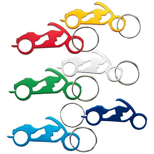 Juvale Keychain Bottle Opener - 12-Pack Motorcycle Bike Portable Beer Bottle Metal Openers Wedding Party Favor in 6 Colors