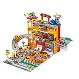 MAJOZ0 Aparcamiento infantil, garaje de aparcamiento con 6 minicoches y 2 helicópteros, tren de carreras de coches, juguete de regalo para niños